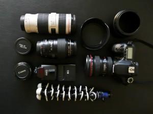 Inhalt des Rucksacks, Objektive, Blitz, EOS40D, Jobo GorillaPod SLR ZOOM